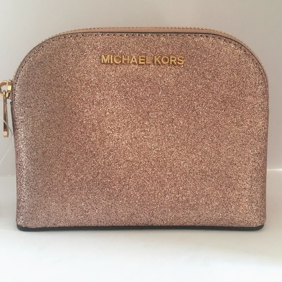 Michael Kors Emmy Cosmetic Pouch Rose Gold NWT